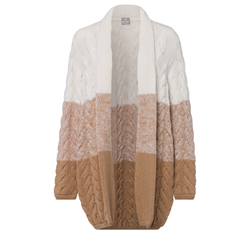 Cardigan in Brown and White by FTC Cashmere at Wertheim Village
