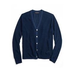 Brooks Brothers Navy Linen Shaker Stitch Cardigan