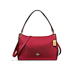 Coach Cherry Pebbled Leather Mia Shoulder Bag
