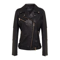 Twin Set -Black leather jacket with gold zips