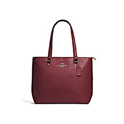 Coach Women's Wine Pebble Leather Bay Tote Bag