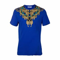 Men's printed round neck tee in blue