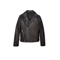 The Kooples Mens Black Leather Jacket with Skull Detail