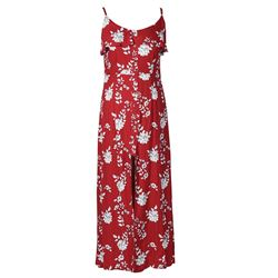 Long Red Flower Dress