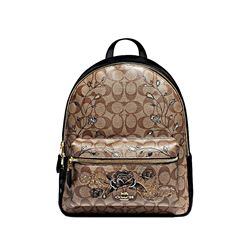 Coach women's khaki black Chelsea Sig Charlie Backpack
