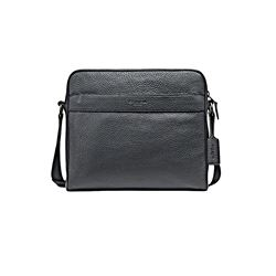Coach Black Charles Camera Bag in Pebbled Leather