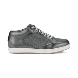 Jimmy Choo Miami Anthracite Glitter and Mirror Leather Sneakers