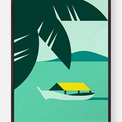 Hey Studio - Affiche Tropic Print: Impression giclée sur papier Decor Smooth Art.