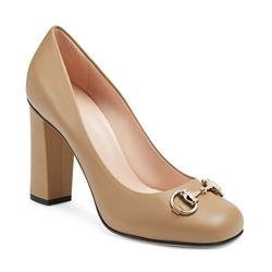 High heel pump in bright camel by GUCCI at Ingolstadt Village