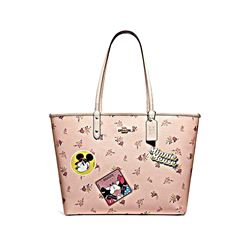 Minnie Signature Logo Patches City Zip Tote - Pink