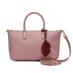 LuLu Guinness Nude Rose Small Grainy Leather Frances Handbag with Lip Charm