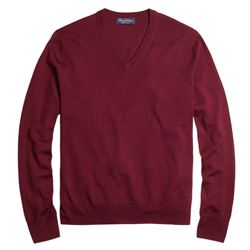 Brooks Brothers Saxon wool v-neck in burgundy