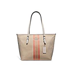 Coach Light Khaki Varisty stripe zip tote from Bicester Village