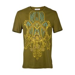 Versace WHITE, BLACK, DARK GREEN Round neck printed T-shirt in green from Bicester Village