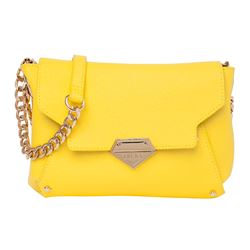 Reversible handbag yellow and camouflage