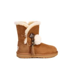 UGG Children's chestnut Lillian II Pom Pom