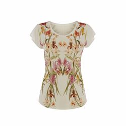 Karen Millen Mirrored floral sheer and lace insert top