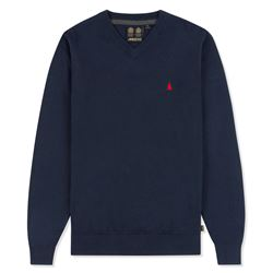 Musto V Neck Blue Knit Jumper