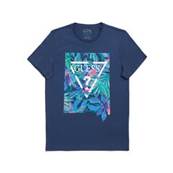 Guess Men's Blue Logo T-Shirt