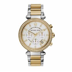 Michael Kors women's watch in gold with silver by Watch Station International at Wertheim Village