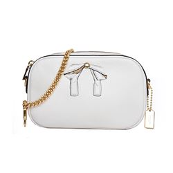 Cream Leather Bag With Chain Strap