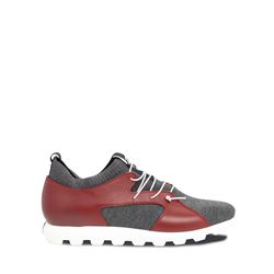 Grey red trainers