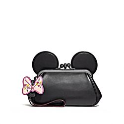 Coach Minnie Leather Kisslock Ear Wristlet
