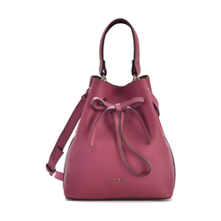 Furla Costanza small leather drawstring bag in Lampone