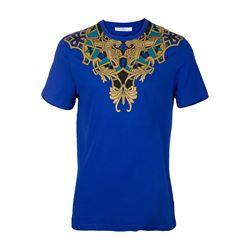 Versace WITHE, BLACK, BLUE Round neck printed T-shirt in blue from Bicester Village