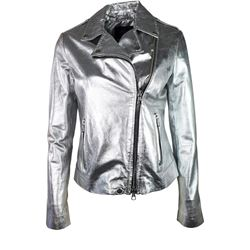 Leather jacket in silver by SET at Ingolstadt Village