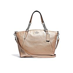 Coach Platinum Metallic Small Kelsey Chain Satchel