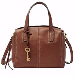 Fossil Emma leather satchel in brown