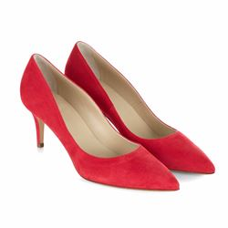 Hobbs Poppy red fine suede court shoe