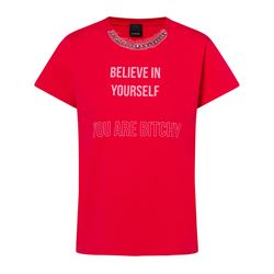 Red T-shirt message woman
