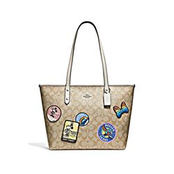 Coach Minnie Signature Logo Patches City Zip Tote