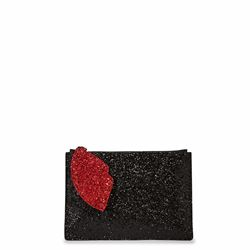 Lulu Guinness Glitter pouch with cut out lip