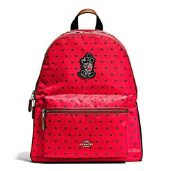 Damen-Rucksack 'Mickey Nylon Bandana Print Charlie Backpack' in Rot von Coach in Wertheim Village