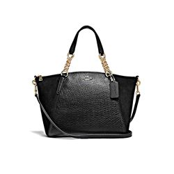 Coach Black Leather Suede Mix Small Kelsey Chain Satchel