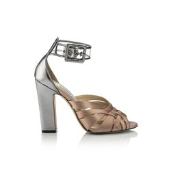 Jimmy Choo Tristen 100 Tea Rose Satin Sandals with Mirror Leather Heels