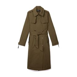 Khaki Military Style Trench Coat