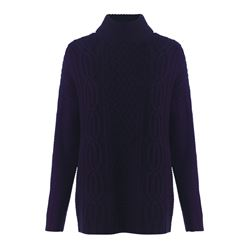 Jigsaw Cable knit polo neck in navy