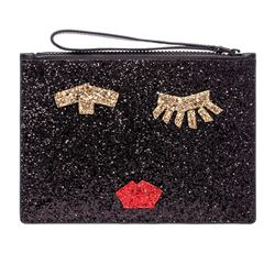 Lulu Guinness Taped face glitter clutch