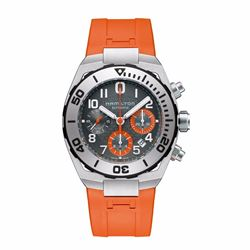 Hour Passion Hamilton navy sub auto chrono watch with orange strap