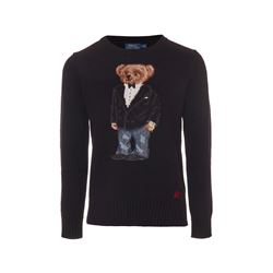 Polo Ralph Lauren Black novelty Iconic bear sweater from Bicester Village
