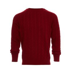 Cable cashmere crew neck sweater