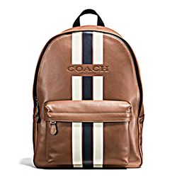 Coach dark saddle striped backpack