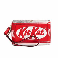 Anya Hindmarch Kit Kat bright red capra clutch