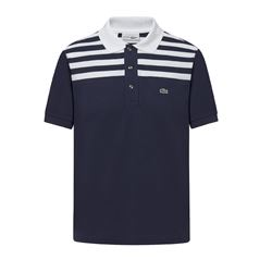 Blue polo shirt white stripes man