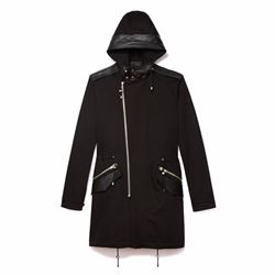 Men's gaberdine trench with diagonal zip detail