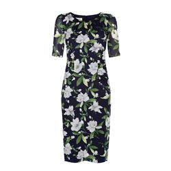 Claudia dress in navy with floral design